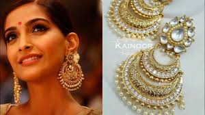 big earing big kundan chandbaali earrings design ideas for indian wear indian