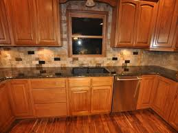 White Backsplash Kitchen Granite Countertop Knotty Alder Cabinet White Tile Backsplash