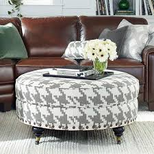 custom round ottoman for home with brown leather sofa and white