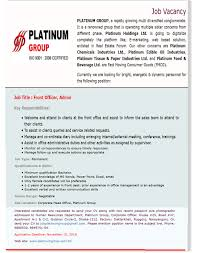 Duties Of Front Desk Officer by Platinum Group Career