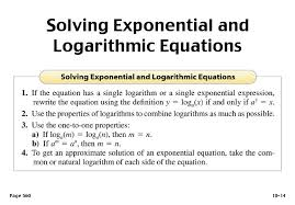math exercises logarithmic equations and inequalities