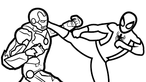 spiderman vs iron man coloring book coloring pages kids fun art