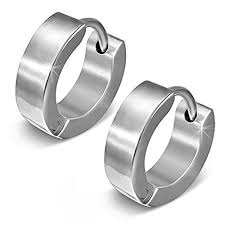 mens earrings brushed finish hinged hoop men s earrings in stainless steel