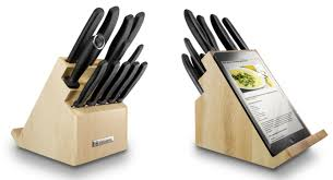 swiss army kitchen knives victorinox kitchen knives block with tablet support wood 6 7163 12