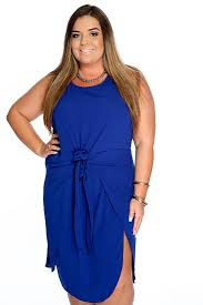 casual cute royal blue sleeveless bow detail plus size dress