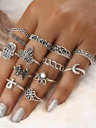 ring set crown and flower design ring set 13pcs shein sheinside