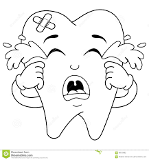 coloring sad crying sick tooth character stock vector image