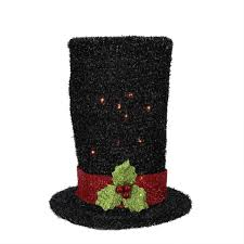 Bethlehem Lights Snowman by 9 Lighted Black Tinsel Snowman Top Hat Christmas Tree Topper