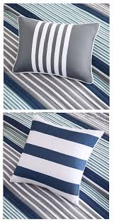 blue grey white striped teen boy bedding twin xl full queen