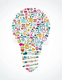 isolated colorful social media icons idea light bulb shape