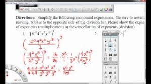worksheet 8 2a simplifying monomials with negative exponents