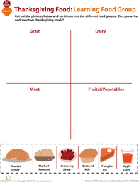 food groups for thanksgiving worksheet education