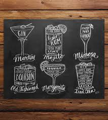 old fashioned cocktail drawing guide to cocktails chalkboard art print bar carts chalkboards