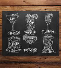 guide to cocktails chalkboard art print bar carts chalkboards