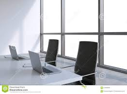 Black Leather Chairs Modern Meeting Room With Huge Windows With Copy Space Black