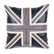 Blue Union Jack Cushion Bentley U0026 Bo Rhinestone Skull Faux Leather Cushion