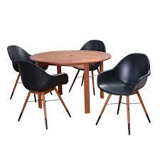 Round Table Patio Dining Sets by Amazonia Bahamas Eucalyptus Wood 5 Piece Round Patio Dining Set