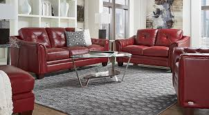 Cindy Crawford Home Marcella Red Leather  Pc Living Room - Red leather living room set