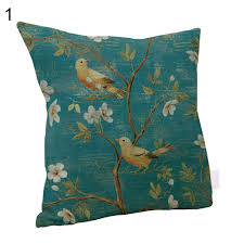 linen hummingbird painting throw pillow case sofa decor cushion