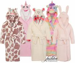 girls 3d novelty animal dressing gown bath robe fleece