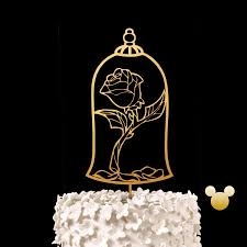 enchanted rose wedding cake topper beauty and the beast keepsake
