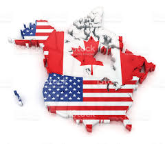 History Of Canadian Flag Usa And Canada Map With Flags Stock Photo Istock