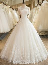 wedding dresses with sleeves ericdress tulle gown shoulder bateau wedding dress with