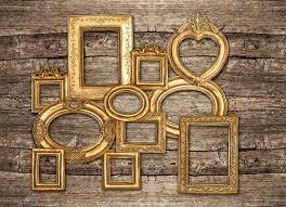 antique wood wall antique golden framework rustic wooden wall stock photo