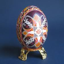 decorated egg shells pysanka traditional design with cross ukrainian easter egg batik
