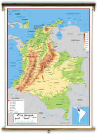 South America Physical Map by Colombia Physical Educational Wall Map From Academia Maps