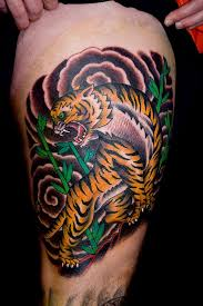 traditional tiger tattoo on right thigh