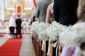 Wedding Flowers Church Beautiful Wedding Flower Decorations In A Church Stock Photo