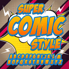 alphabet in the hero style of comics pop art letters and figures