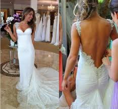 ivory beach mermaid open back vintage lace wedding dresses online
