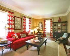 Living Room With Red Sofa by Country Decor With Yellow Walls New Home Interior Design Decor