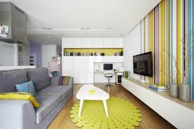 Green Striped Wallpaper Living Room Apartements Cool Small Apartment Decoration Using Light Green Blue