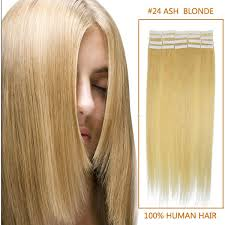Hair Extensions Tape by Inch 20pcs Sleek Straight Tape In Human Hair Extensions 24 Ash Blonde