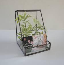 glass terrarium business card holder planter home decor garden sold by jewelsinthegarden