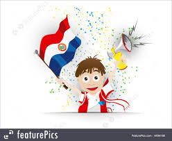 Paraguayan Flag Games With Ball Paraguay Soccer Fan Flag Cartoon Stock