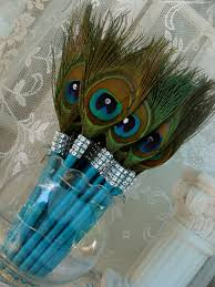 peacock favors custom quantity 180 peacock feather pen favors with bling in