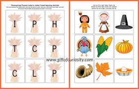 free thanksgiving printable letter sounds matching