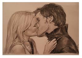 the kiss emma swan and captain hook by roseredart deviantart com