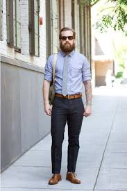 mens light blue dress pants sapone style brown belt and matching shoes with dark grey pants