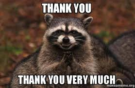 Thank You Very Much Meme - thank you thank you very much evil plotting raccoon make a meme