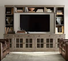 Pottery Barn Benchwright Media Livingston Medium Media Suite With Drawers Gray Wash Media