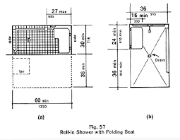 fig 57 a and b roll in shower with folding seat