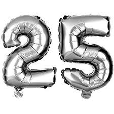 silver balloons non floating 25 number balloons 25th birthday party