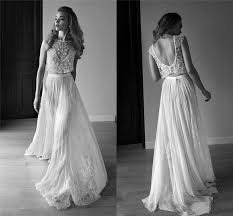 two wedding dress 2017 lihi hod two pieces backless lace wedding dresses