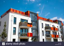 modern multi family house seen in berlin germany stock photo