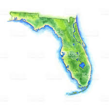 Watercolor Map Of The World by Hand Painted Watercolor Map Of The Us State Of Florida Stock